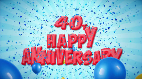 48. 40th Happy Anniversary Red Greeting and Wishes with Balloons, Confetti Footage
