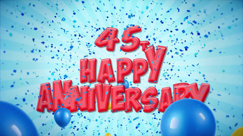 50. 45th Happy Anniversary Red Greeting and Wishes with Balloons, Confetti Footage