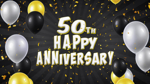 51. 50th Happy Anniversary Black Greeting and Wishes with Balloons, Confetti Footage