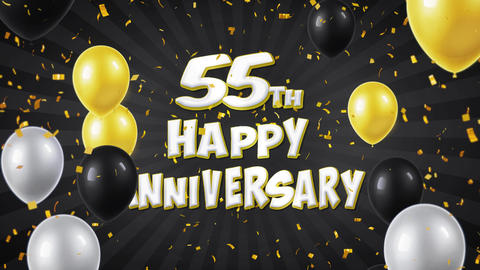 53. 55th Happy Anniversary Black Greeting and Wishes with Balloons, Confetti Live Action