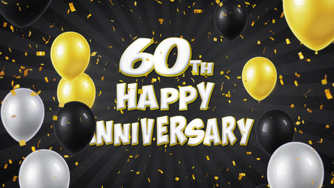 55. 60th Happy Anniversary Black Greeting and Wishes with Balloons, Confetti Footage