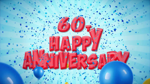56. 60th Happy Anniversary Red Greeting and Wishes with Balloons, Confetti Footage