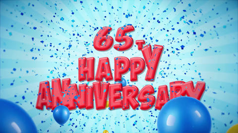 58. 65th Happy Anniversary Red Greeting and Wishes with Balloons, Confetti Live Action