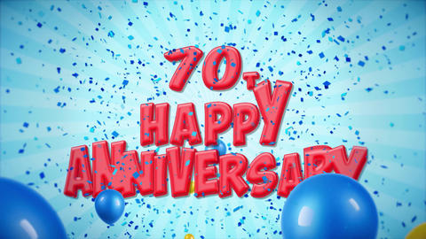 60. 70th Happy Anniversary Red Greeting and Wishes with Balloons, Confetti Footage