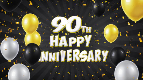 67. 90th Happy Anniversary Black Greeting and Wishes with Balloons, Confetti Footage