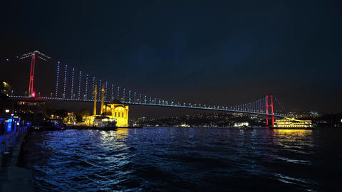 istanbul bosphorus bridge at night Footage
