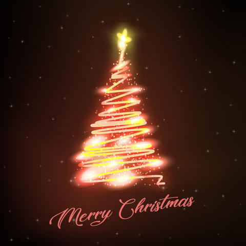 Christmas tree with decorations on Stars Background Photo