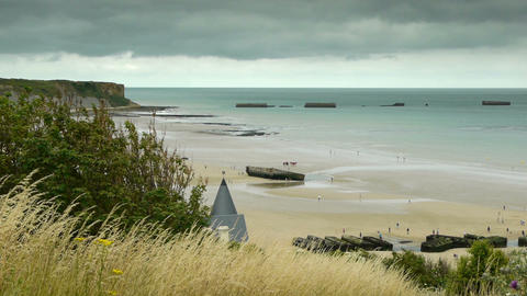 Memorial Overlord beach at Arromanches, France Footage