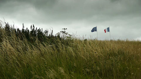 National flags at D Day Beach at Arromanches, France Footage