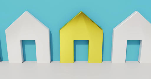 Real estate concept. Symbolic representation for the choice of a house when Animation