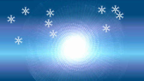 Snowflake particles on blue gradient background. Flying snow on winter GIF