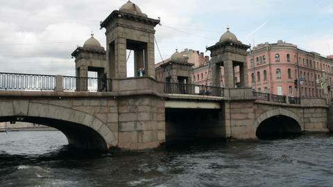 Lomonosov Bridge in St. Petersburg Footage