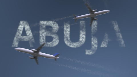 Flying airplanes trails and Abuja caption. Traveling to Nigeria conceptual 3D Photo