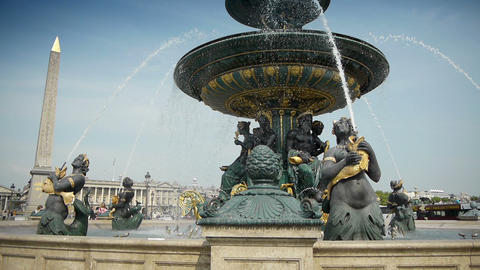 Fountain at place de Concorde in Paris, France Footage