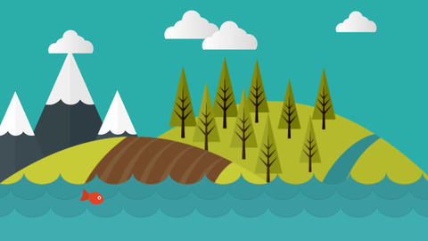 Mountain Water Scenery Video Motion Graphics Animation Background Loop HD Animation