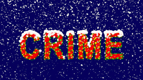 New Year text text CRIME. Snow falls. Christmas mood, looped video. Alpha Animation