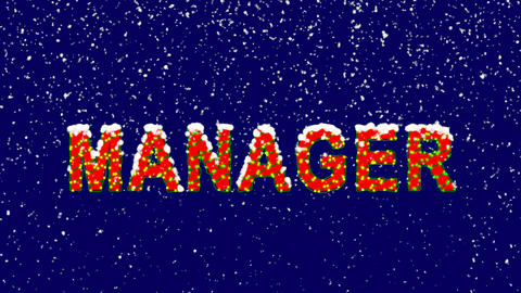 New Year text text MANAGER. Snow falls. Christmas mood, looped video. Alpha Animation
