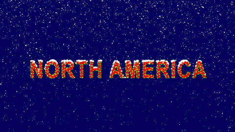 New Year text continent name NORTH AMERICA. Snow falls. Christmas mood, looped Animation