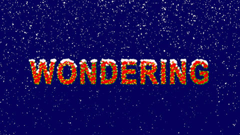 New Year text text WONDERING. Snow falls. Christmas mood, looped video. Alpha Animation