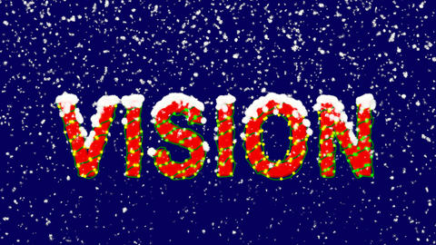 New Year text text VISION. Snow falls. Christmas mood, looped video. Alpha Animation