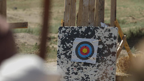 Arrow hit the target stand Slow motion Medieval Archery training Live Action