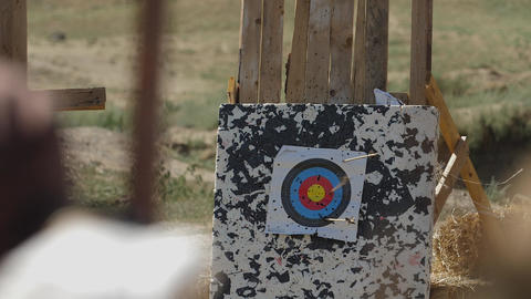 Arrow hit the target stand Slow motion Medieval Archery… Stock Video Footage