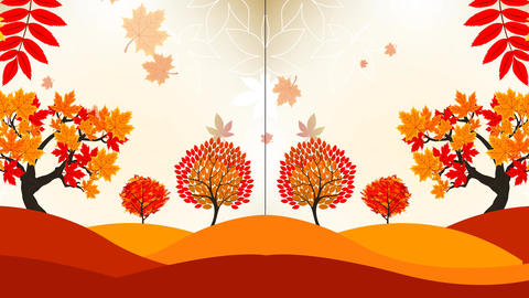 Falling Autumn Leaves Video Motion Graphics Animation Background Loop HD Animation
