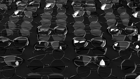 Many black glasses on black background CG動画
