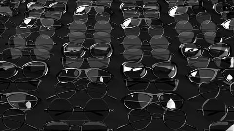 Many black glasses on black background Animation