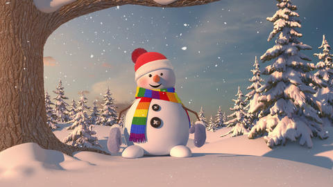 Funny Snowman in the Forest with a Scarf of Color of Lgbt Animation