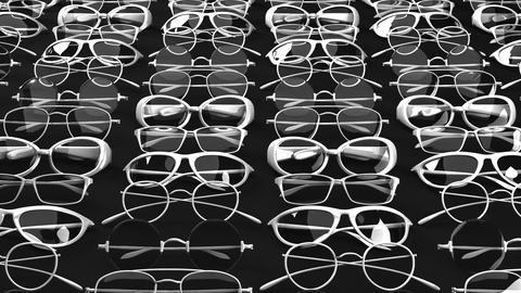 Many white glasses on black background Animation