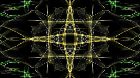 Abstract fractal anmation, yellow patterns in the shape of a cross, tunnel loop Animación