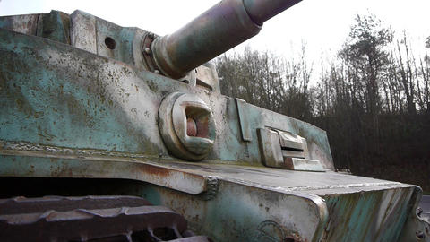 Close-up of a German tiger tank in Normandy France Footage
