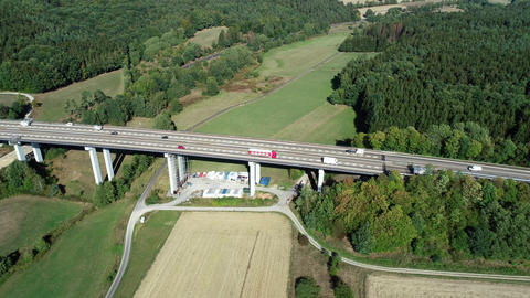 Highway bridge - aerial view Footage