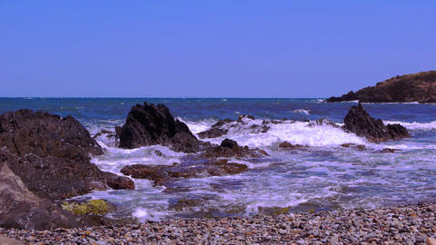 Waves at the beach. Mediterranean coast, france Live Action