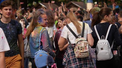 Ukraine, Kharkov, 2018: People Celebrate Holi Colors Festival. Cool and modern Footage