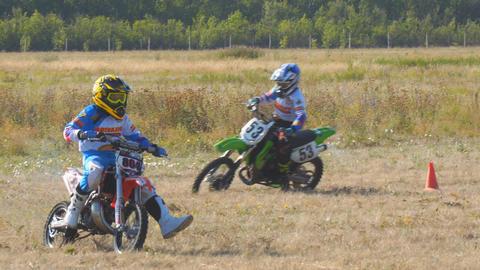 Enduro racer rides a motocross bike Footage