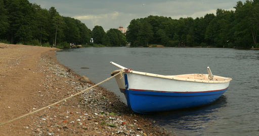 empty rowing boat is tied Footage