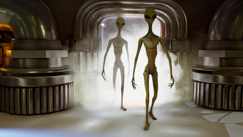 Alien invasion through the portal. Dramatic super realistic concept. 3D Fotografía