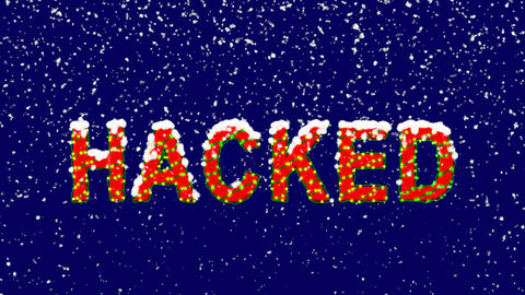 New Year text text HACKED. Snow falls. Christmas mood, looped video. Alpha Animation