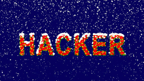 New Year text text HACKER. Snow falls. Christmas mood, looped video. Alpha Animation
