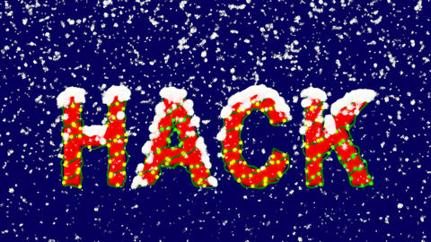 New Year text text HACK. Snow falls. Christmas mood, looped video. Alpha channel Animation