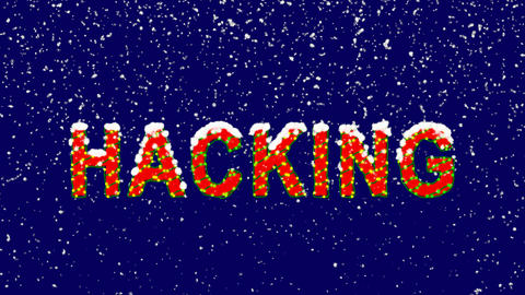 New Year text text HACKING. Snow falls. Christmas mood, looped video. Alpha Animation