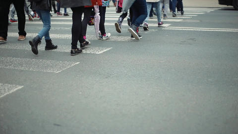People Crossing Road at a Down View of Transition Footage