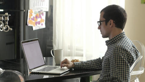 Man Looking at Laptop Screen Says Yes Footage