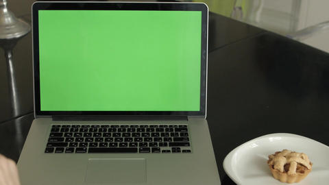 A Man Types on a Laptop on His Desk Footage