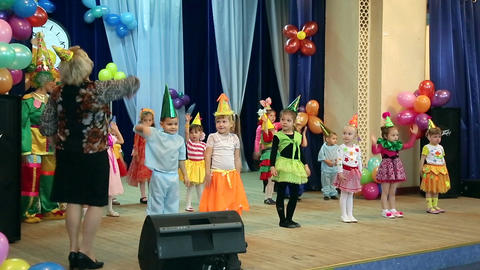 Little children bow to the audience Live Action