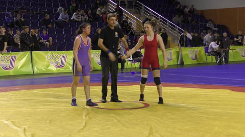 Orenburg, Russia - 28 January 2016: girls compete in freestyle wrestling 영상물