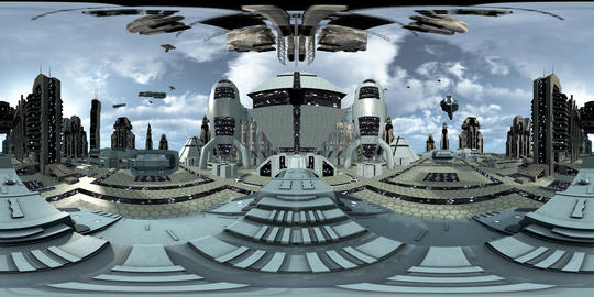 360VR Video of futuristic city with spaceships VR 360° Video