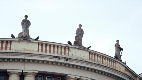 Three Statues on the Top of the Building Footage